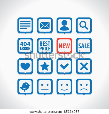 Simple icons set - stock vector