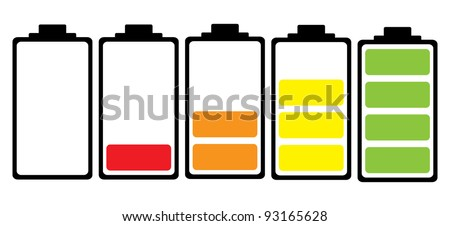 Simple illustrated battery icon with colorful charge level - stock vector