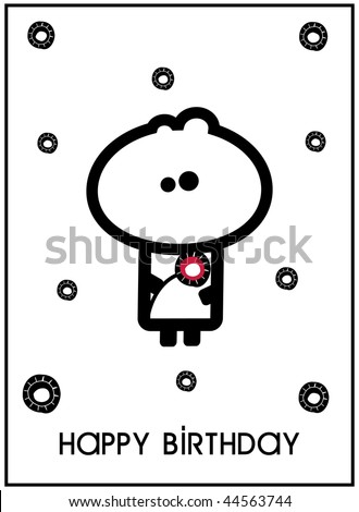 Simple illustrated birthday card design with Tiny Dude holding a flower - stock vector