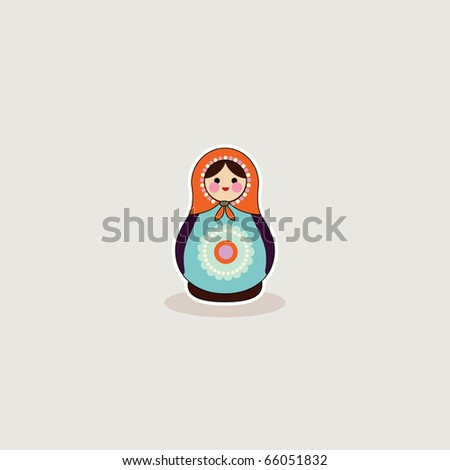 Simple illustrated card design of russian babushka doll - stock vector