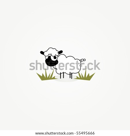 simple illustrated vector card design of funny cartoon sheep in grass patch