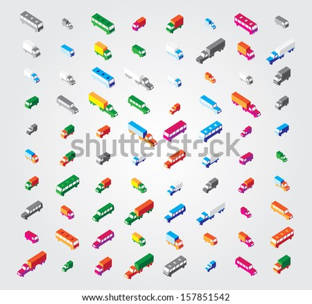 Simple illustration in vector:isometric transport - stock vector