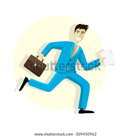 Simple illustration of a businessman running on white background