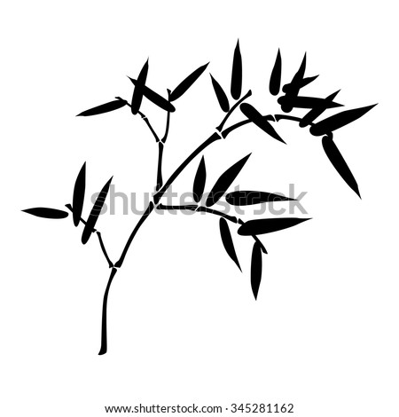Simple illustration of bamboo branch isolated on white background - stock vector