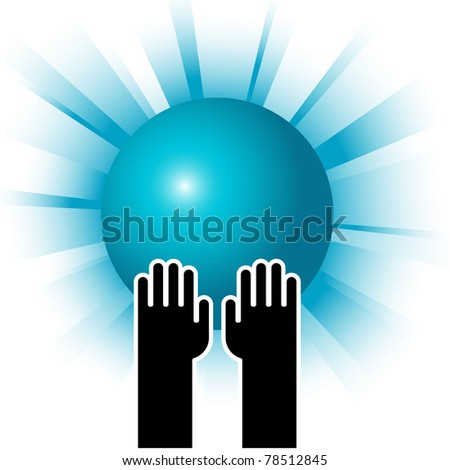 simple illustration of blue sun in hands - stock vector