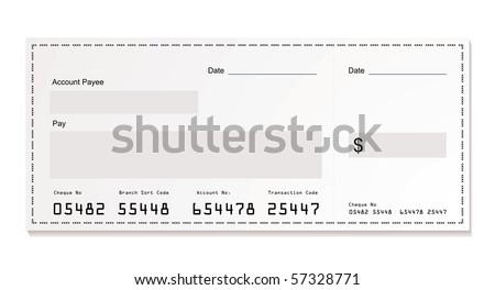 Simple illustration of dollar white cheque with space for your own text - stock vector