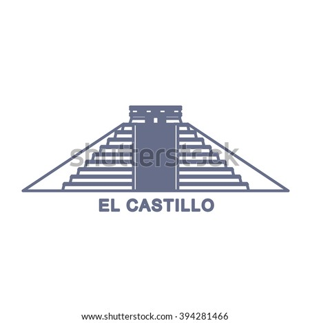 Simple Illustration of El Castillo, Kukulkan Pyramid in Chichen Itza, Mexico - stock vector