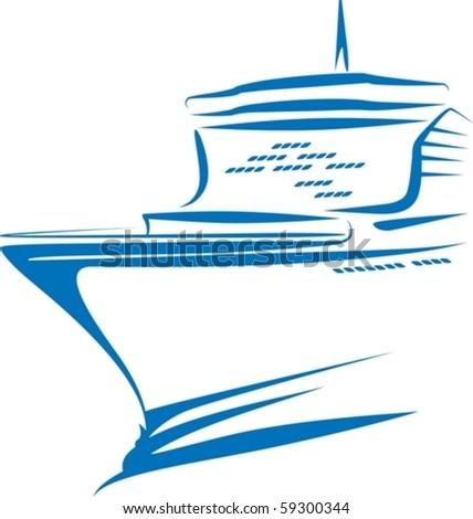 Simple illustration of ship. Transportation concept - stock vector