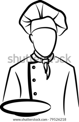 simple illustration with a chef - stock vector