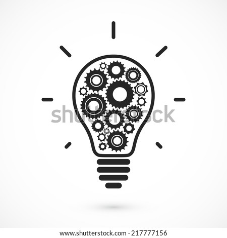 Simple light bulb conceptual icon with gears inside. Vector illustration - stock vector