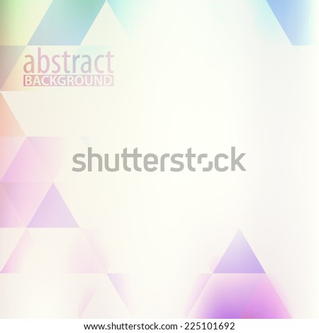 Simple light hipster background with color triangles. Vector - stock vector
