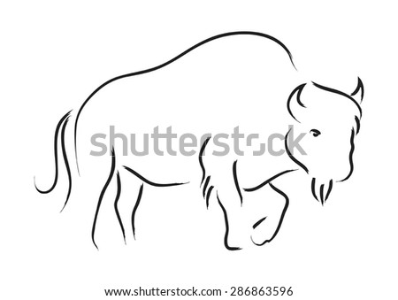 Simple line art of a bison
