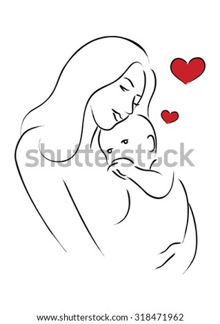 Simple line art of a mother holding her baby - stock vector