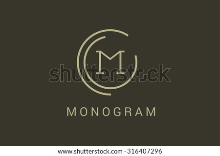 Simple line circle logo. M letter monogram. Vector M circle. Circle O and M letter design. Abstract M letter. Round rings. Ring circle symbol. Thin line circle.  Monogram M circle icon - stock vector