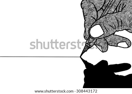 Simple line drawing of hand holding a pen.Vector illustration.