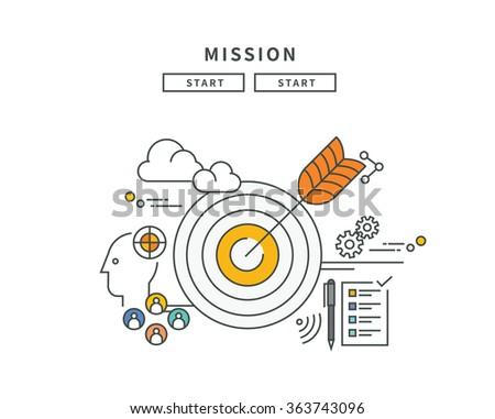 simple line flat design of mission, modern vector illustration - stock vector