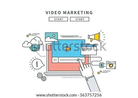 simple line flat design of video marketing, modern vector illustration - stock vector