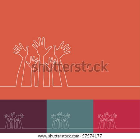 Simple line illustration of hands vector. - stock vector