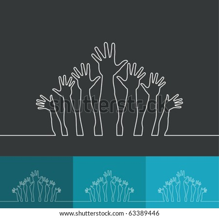 Simple line illustration of realistic happy hands vector. - stock vector