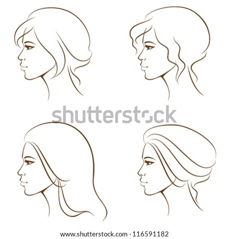 simple line illustrations of a beautiful woman face from profile, with various hair styles - stock vector