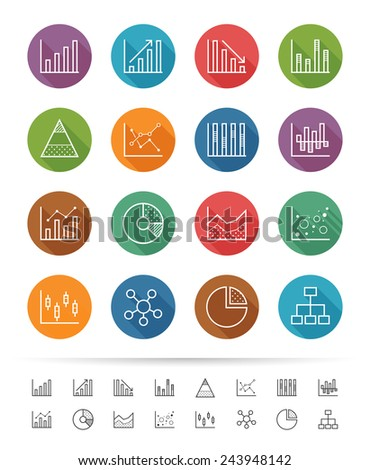 Simple line style : Chart and Graph icons set - Vector illustration - stock vector