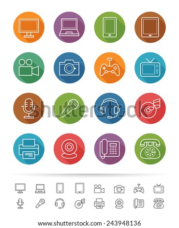 Simple line style : Electronic Devices icons set - Vector illustration - stock vector