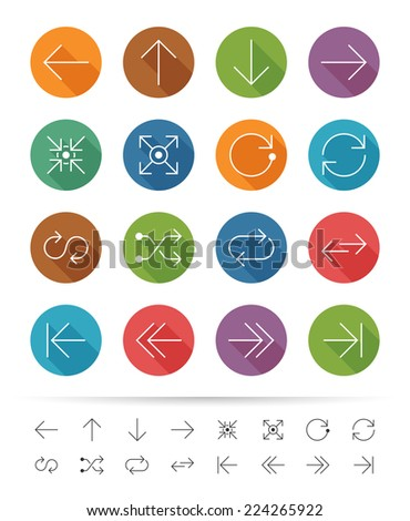 Simple line style : Graphic arrows icons set - stock vector