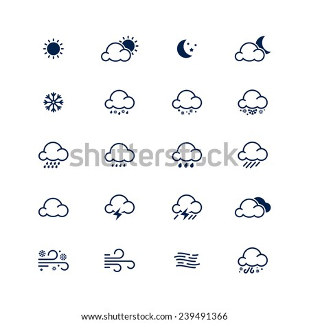 Simple line weather icon set. Vector illustration. Meteorology symbol. - stock vector