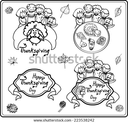 Simple linear composition and headers with a family who celebrates Thanksgiving/Family on Thanksgiving line - stock vector