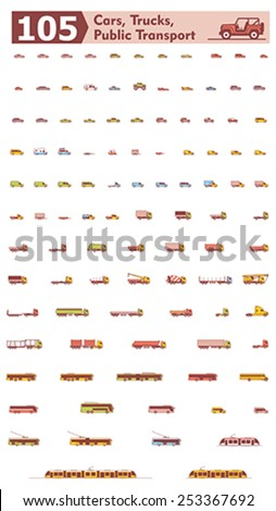 Simple linear Vector icon set representing different types of cars, trucks and public transport - stock vector