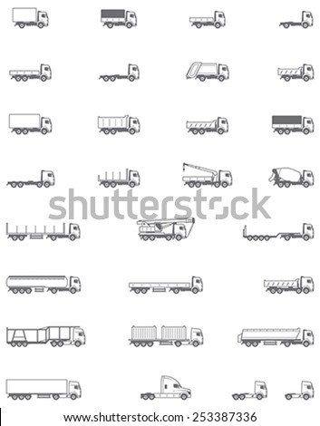 Simple linear Vector icon set representing different types of trucks and semi-trucks. Flatbed trucks, trailers, semi-trailers, dump truck icons - stock vector