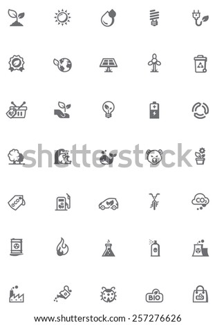 Simple linear Vector icon set representing Ecology related issues and symbols - stock vector