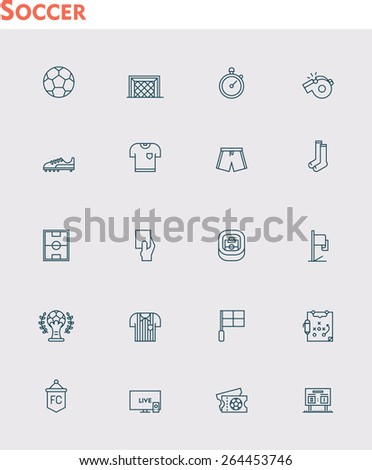 Simple linear Vector icon set representing soccer or football  equipment, clothes, ball - stock vector
