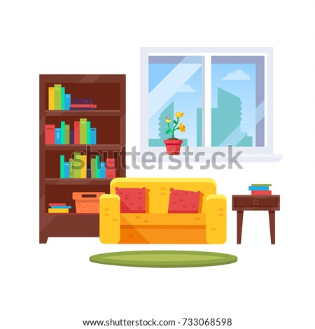 Simple Living Room With A Bookshelves Sofa And Window Cozy Interior Set Vector