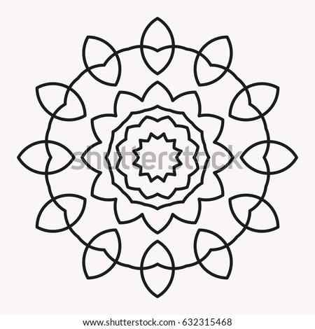 Simple Mandala Shape For Coloring Vector Floral Flower Oriental Book