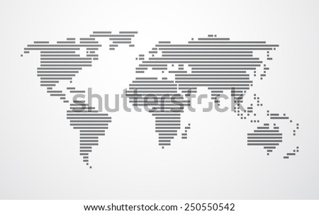 simple map of the world made up of black stripes on a light background - stock vector