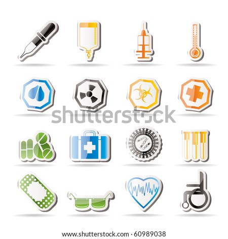 Simple medical themed icons and warning-signs - vector Icon Set - stock vector