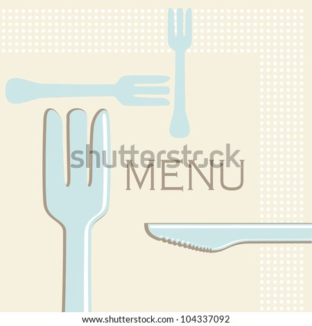 Simple menu or cafe illustration of knives and forks in retro style