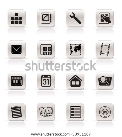 Simple Mobile Phone and Computer icon - Vector Icon Set - stock vector