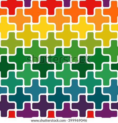 Simple modern rainbow colored repeating background with a structure of colorful crosses - vector seamless pattern - stock vector