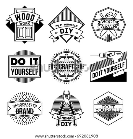 Simple mono lines logos collection do stock vector royalty free simple mono lines logos collection do it yourself diy craft solutioingenieria Choice Image