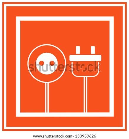 Simple monochrome electricity icon - stock vector