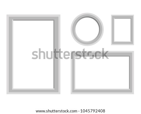 Simple Monochrome Frames Vector Set Round Stock Vector 1045792408 ...