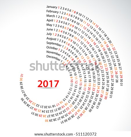 Simple monthly and daily 2017 calendar. Vector swirl shape.
