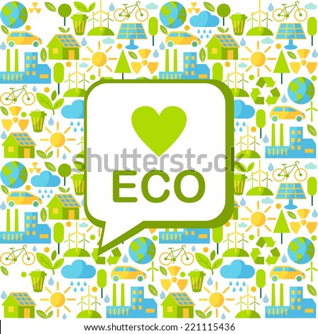 Simple multicolor seamless background with many icons on ecology theme  - stock vector