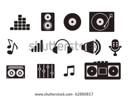 simple music icon set - stock vector
