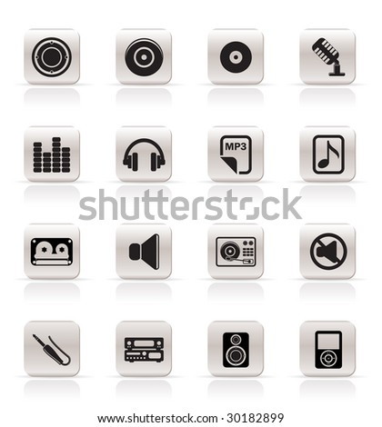 Simple Music Icons Vector Icon Set