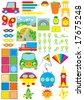 Simple objects for kindergarten - stock vector