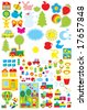 Simple objects for kindergarten (Vector clip-arts for design and copy-book) - stock vector