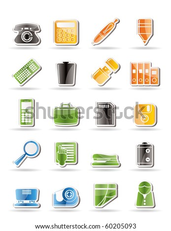 Simple Office tools Icons vector icon set 3 - stock vector